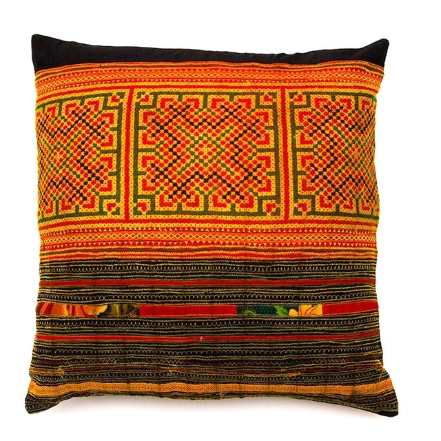 Image of Hill Tribe Pillow - Handmade in Thailand Yellow