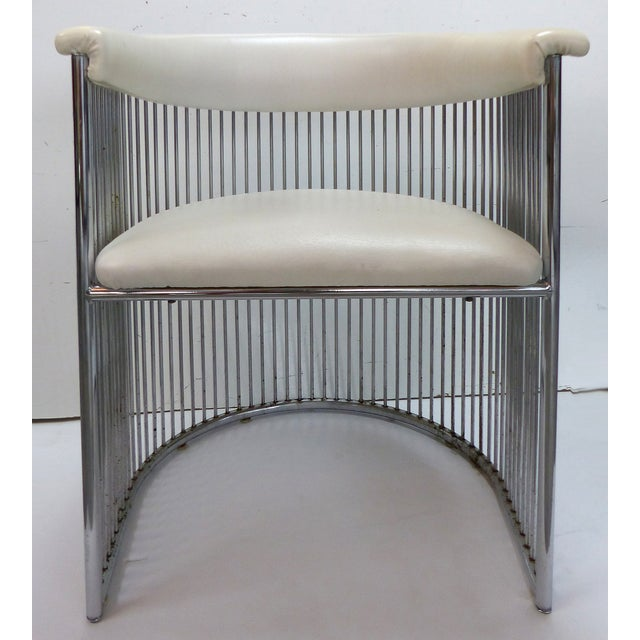 Mid-Century Chrome Barrel Chairs - A Pair - Image 4 of 9