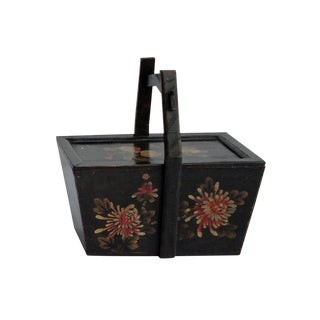 Vintage Chinese Rectangular Graphic Wooden Handle Food Bucket