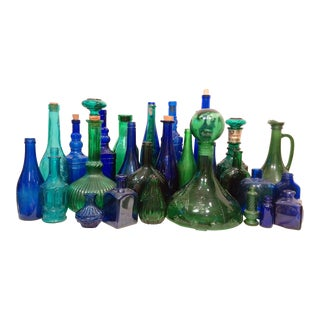 Green & Blue Glass Bottle Collection - S/29