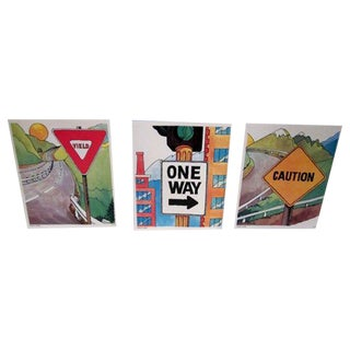 1970s Vintage Abstract Signs - Set of 3