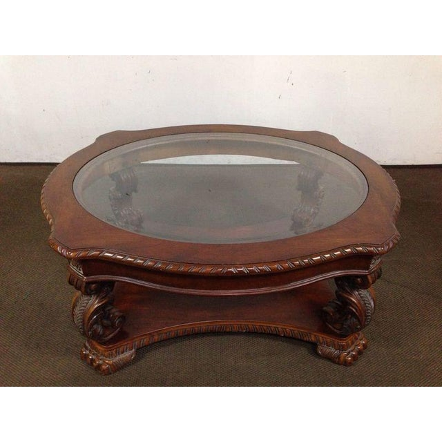 Rococo-Style Carved Mahogany Coffee Table - Image 2 of 7