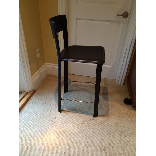 Image of Design Within Reach Black Leather Stools - A Pair