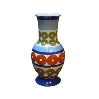 Bright Patterned Blue/White/Olive/Red Porcelain Vase by Frederic De Luca