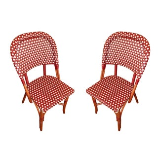 Piotioux Red & Cream Woven Side Chairs - A Pair