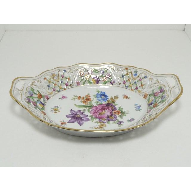 Vintage Porcelain Schumann Dresden Floral Bouquet Oval Serving Dish W Handles - Image 3 of 8