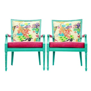 Chinese Handprint Teal Armchairs - A Pair