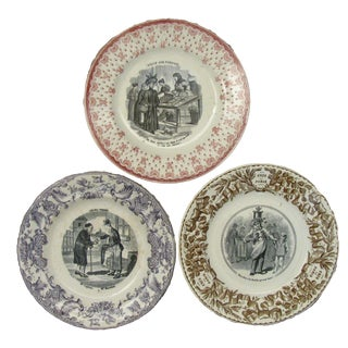 French Antique Transferware Plates - Set of 3