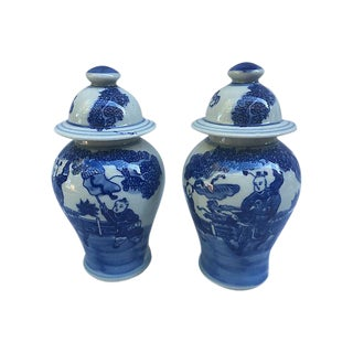 Chinese Blue & White Lidded Ginger Jars - a Pair