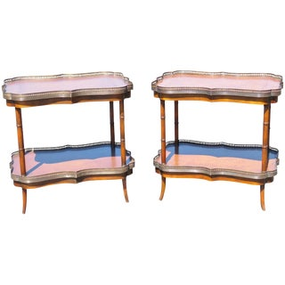 Leather Top 2 Tier Faux Bamboo Tables- A Pair