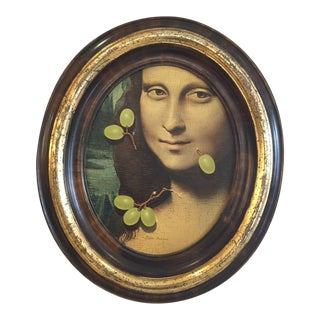 Original Helen Berland Oil on Panel of Mona Lisa with Green Grapes