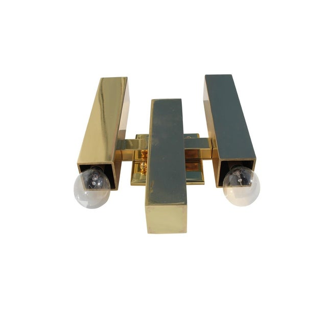 Modern Rectangular Brass Sconce - Image 2 of 4
