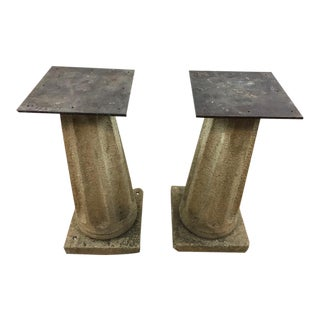 Cement and Metal ' Column' Stands - a Pair