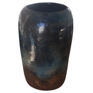 Vintage Signed Studio Pottery Indigo Vase