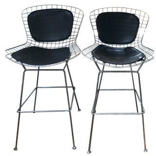 Harry Bertoia Chrome Bar Stools for Knoll - A Pair