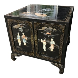 Asian Chinoiserie Hand Painted Cabinet Side Table
