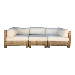 Vintage Woven Caning Sectional Sofa