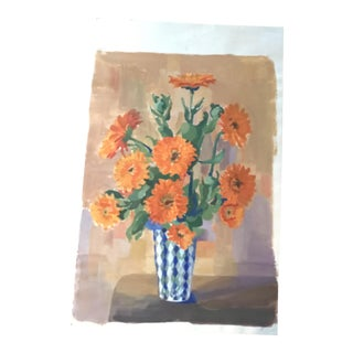 Vintage French Floral Still Life With Zinnias