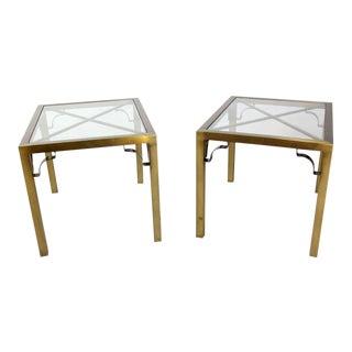 Mid-Century Modern Cross Brass Base & Glass-Top Side - A Pair