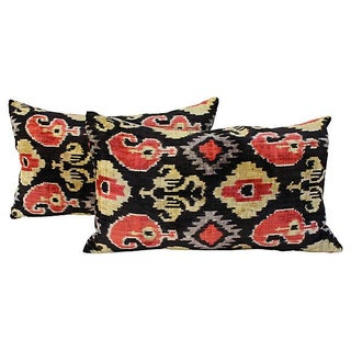 Boho Chic Silk Velvet Ikat Pillows - A Pair