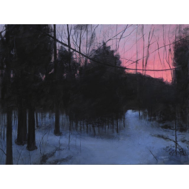 Painting of Winter Sunrise on a Path in the Woods - Image 1 of 4