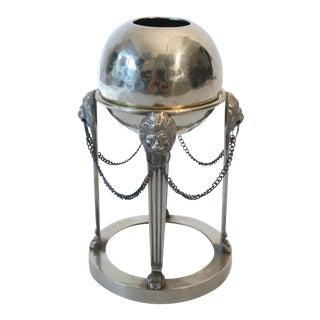 Brass Hammered Vase on Brass Lion Head Stand