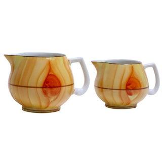 Faux Bois Porcelain Jugs - A Pair