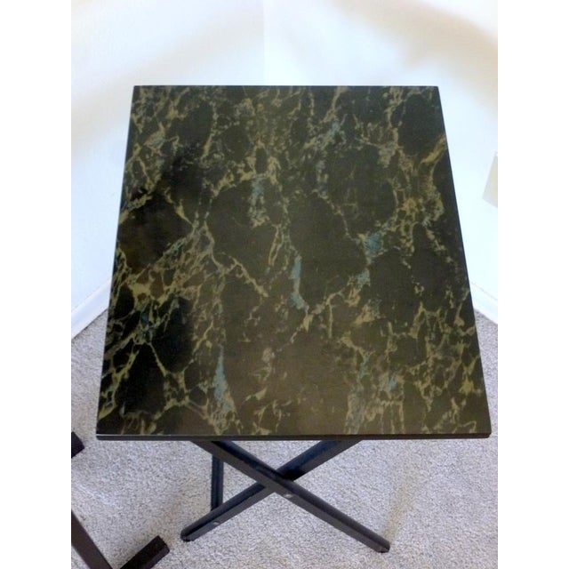 Image of Mid-Century Faux Granite Folding Tables - A Pair