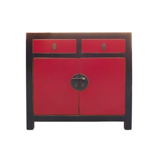 Chinese Black & Red Side Cabinet
