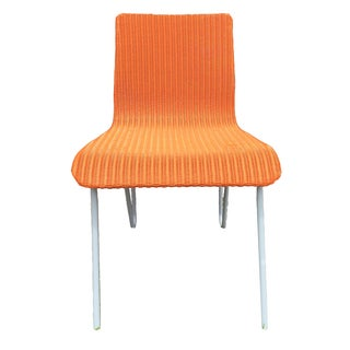 Orange Wicker & Metal Dining Chairs - Set of 8