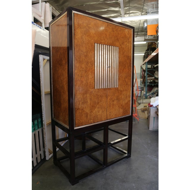 Tall Asian Modern Burl Wood Armoire - Image 2 of 6