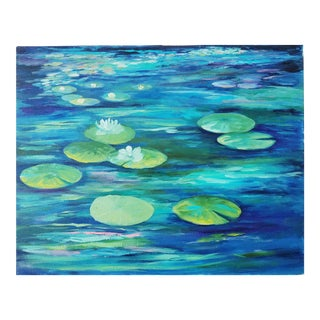 Water Lily Pads and Lotus Flowers Acrylic on Canvas Original Painting