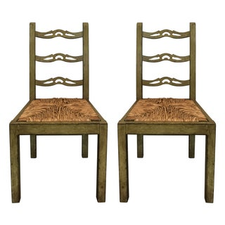 Vintage French Country Rustic Side Chairs - A Pair
