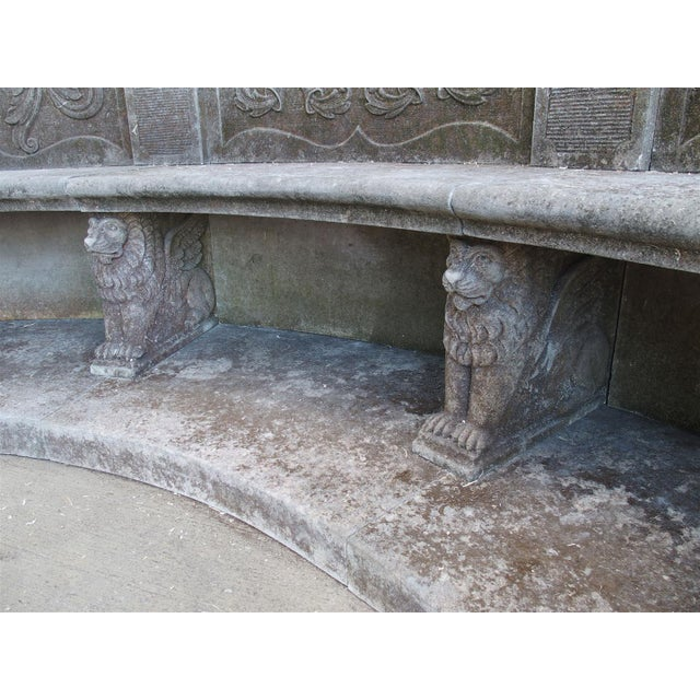A Large Semi Circular Carved Limestone Griffins Bench - Image 7 of 11