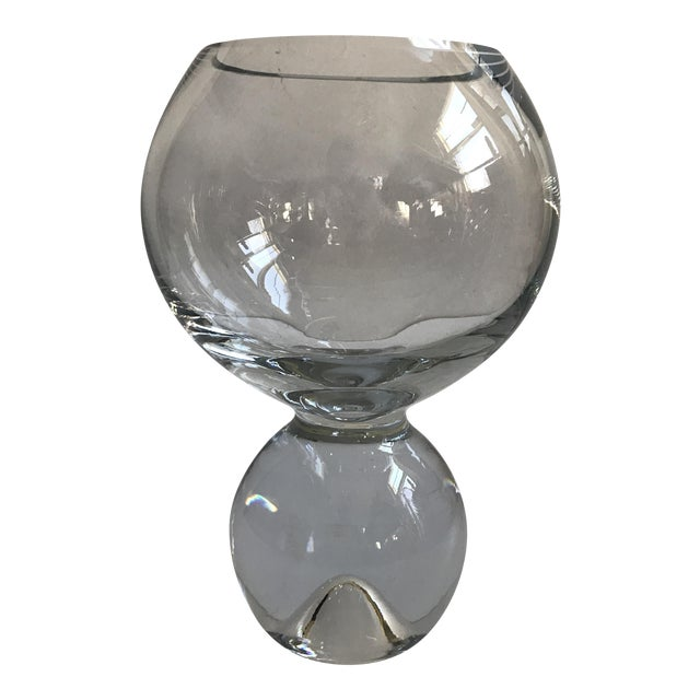 Contemporary Glass Ball Footed Vase - Image 1 of 8
