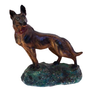 Vintage Chalkware German Shepherd Dog Figure