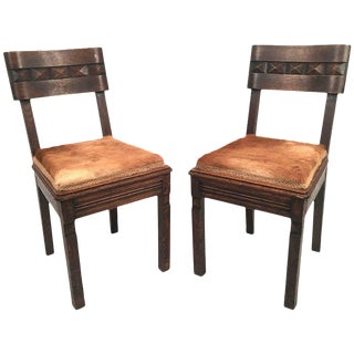 Pair of Art Deco Carved Oak Chairs