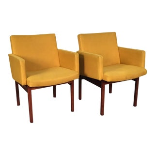 Gold Mid-Century Modern Lounge Chairs - Pair