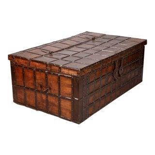 19th Century XL Anglo-Indian Iron Bound Teak Trunk