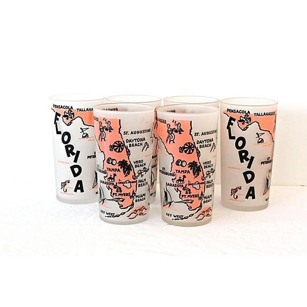 Image of Mid-Century Florida State Glassware - Set of 6