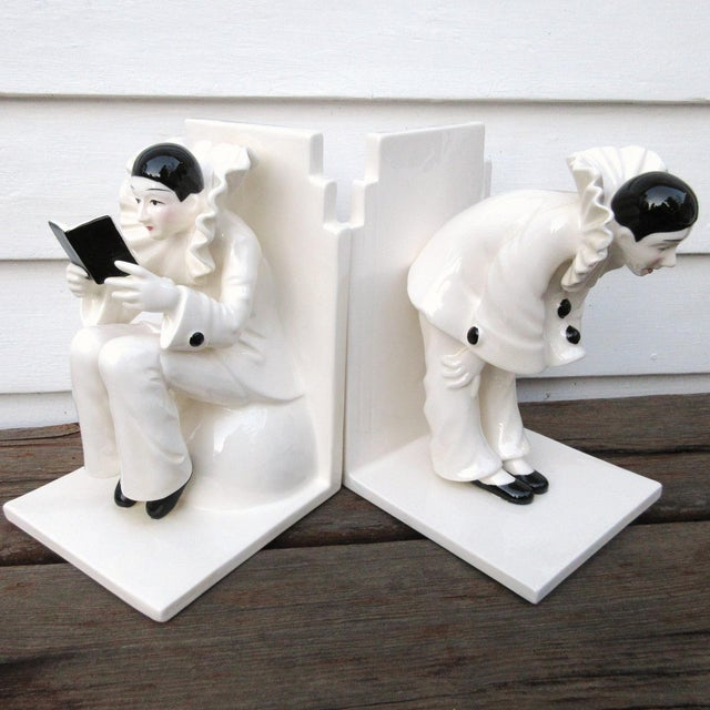 Art Deco Ceramic Mime Bookends - A Pair - Image 6 of 7
