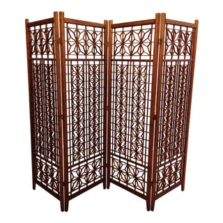 Geometric Four Panel Wood Room Divider Screen