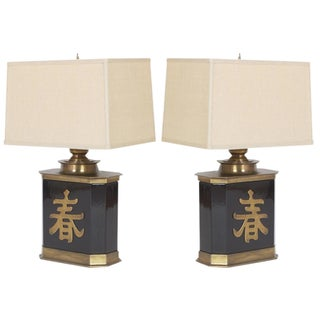 Pair of Table Lamps Mid-Century Chinoiserie Chinese Character