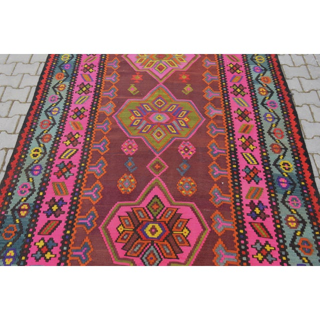 Anatolia Turkish Kilim Rug - 6′6″ × 14′2″ - Image 8 of 10