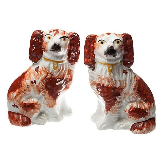Image of Antique Staffordshire Spaniels - Pair