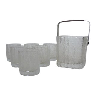 Mid-Century Textured Frosted Set of Barware
