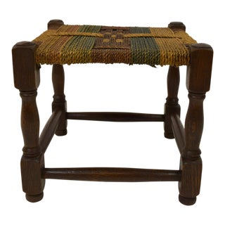 English Square Oak Stool with Hemp Rope Seat
