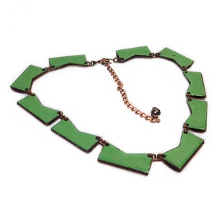 Green Enameled Copper Necklace