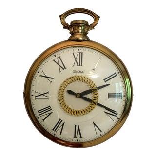 Mid-Century United Pocket Watch Wall Clock