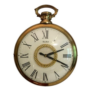 Mid-Century United Pocket Watch Wall Clock